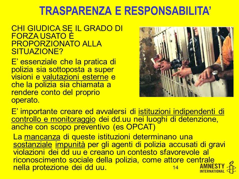 TRASPARENZA E RESPONSABILITA' 14 CHI GIUDICA SE IL GRADO DI FORZA USATO È PROPORZIONATO ALLA SITUAZIONE? E' essenziale che la pratica di polizia sia s