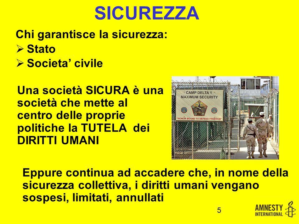 SICUREZZA Una società SICURA è una società che mette al centro delle proprie politiche la TUTELA dei DIRITTI UMANI 5 Eppure continua ad accadere che,