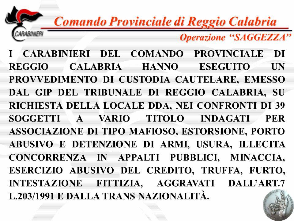 Comando Provinciale di Reggio Calabria I CARABINIERI DEL COMANDO PROVINCIALE DI REGGIO CALABRIA HANNO ESEGUITO UN PROVVEDIMENTO DI CUSTODIA CAUTELARE,