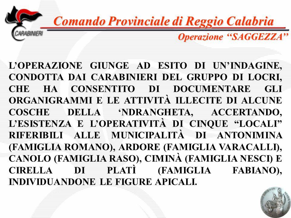 Comando Provinciale di Reggio Calabria L'OPERAZIONE GIUNGE AD ESITO DI UN'INDAGINE, CONDOTTA DAI CARABINIERI DEL GRUPPO DI LOCRI, CHE HA CONSENTITO DI