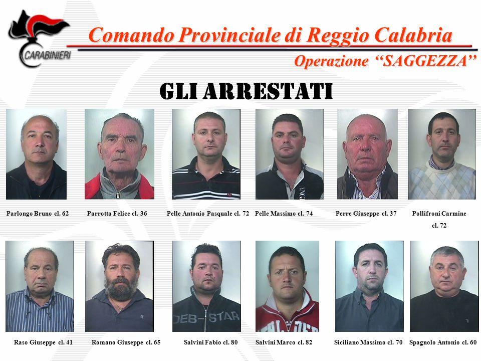 Comando Provinciale di Reggio Calabria GLI ARRESTATI Parlongo Bruno cl. 62 Salvini Marco cl. 82 Operazione ''SAGGEZZA'' Parrotta Felice cl. 36Pelle An