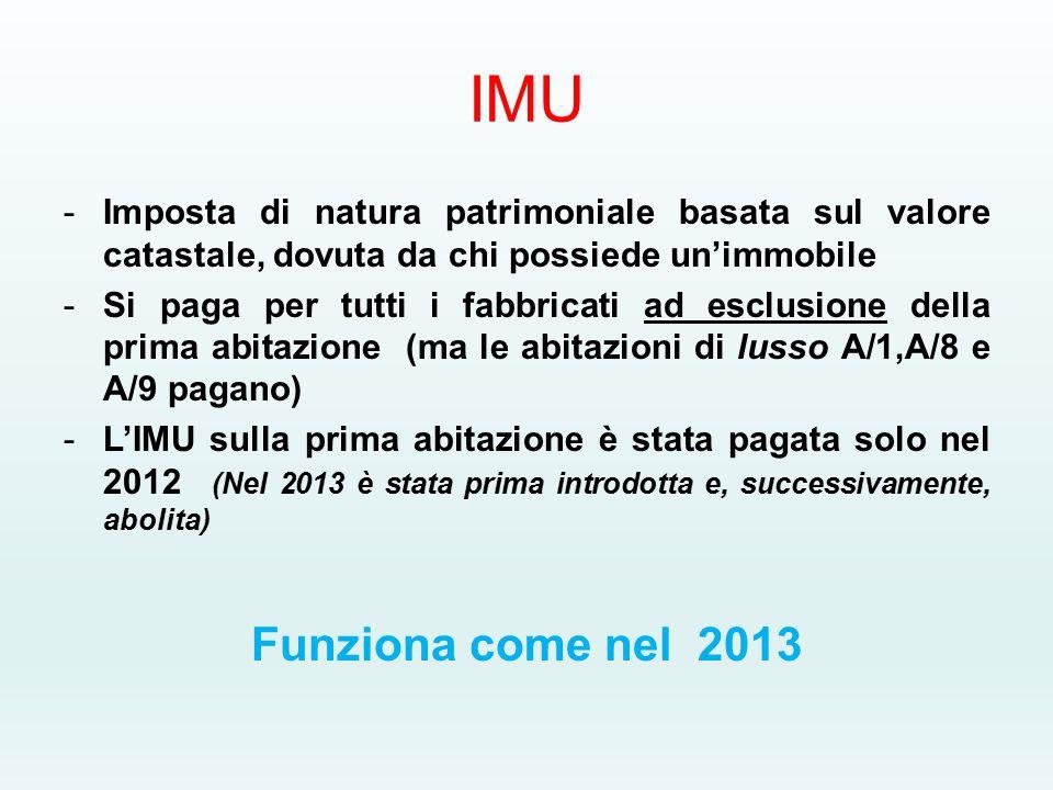 IMU -Imposta di natura patrimoniale basata sul valore catastale, dovuta da chi possiede un'immobile -Si paga per tutti i fabbricati ad esclusione della prima abitazione (ma le abitazioni di lusso A/1,A/8 e A/9 pagano) -L'IMU sulla prima abitazione è stata pagata solo nel 2012 (Nel 2013 è stata prima introdotta e, successivamente, abolita) Funziona come nel 2013