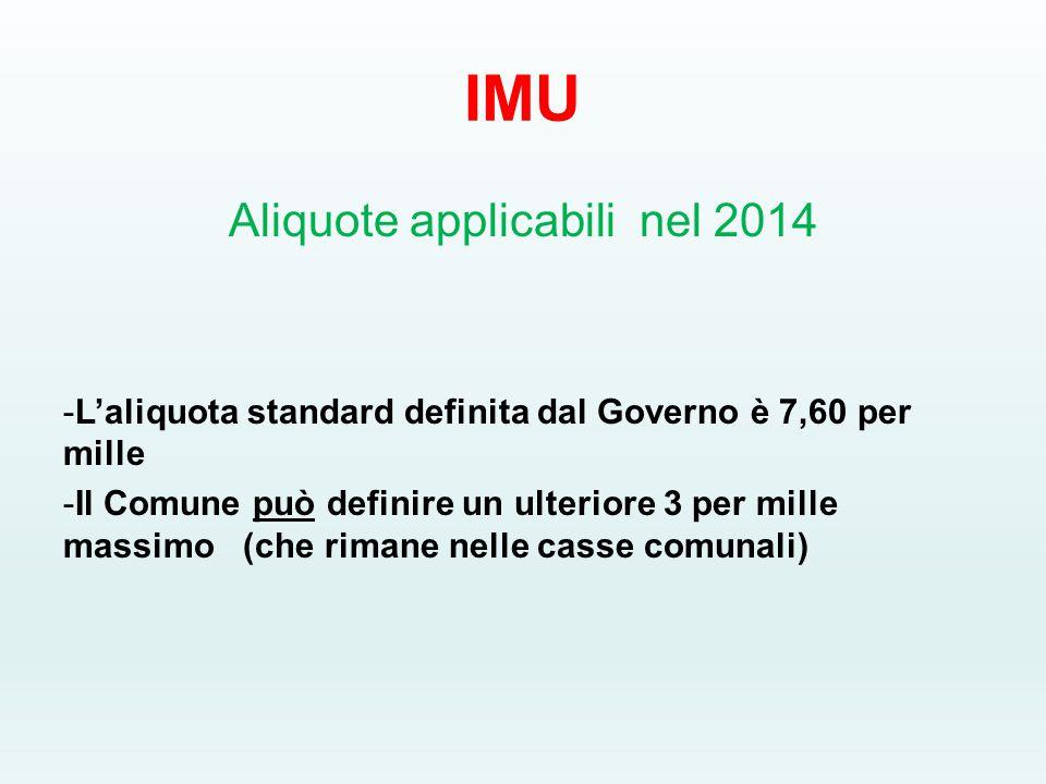 IMU Aliquote applicabili nel 2014 -L'aliquota standard definita dal Governo è 7,60 per mille -Il Comune può definire un ulteriore 3 per mille massimo (che rimane nelle casse comunali)