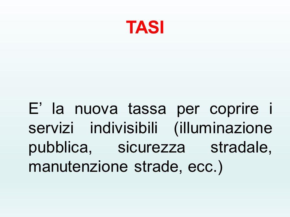 TASI E' la nuova tassa per coprire i servizi indivisibili (illuminazione pubblica, sicurezza stradale, manutenzione strade, ecc.)