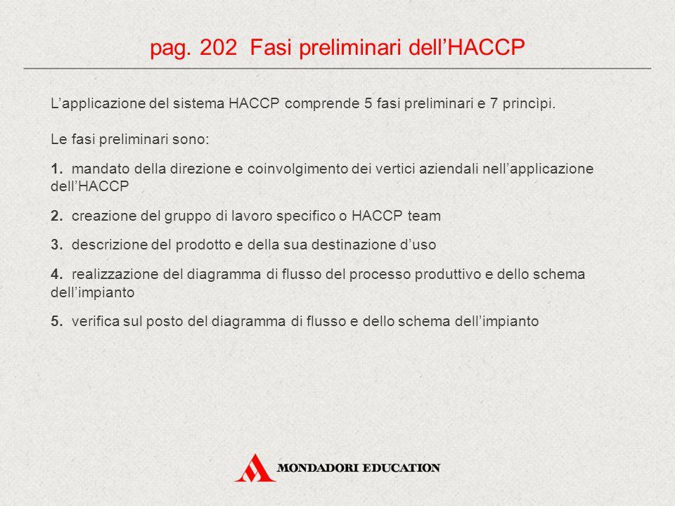 L'applicazione del sistema HACCP comprende 5 fasi preliminari e 7 princìpi. Le fasi preliminari sono: 1. mandato della direzione e coinvolgimento dei