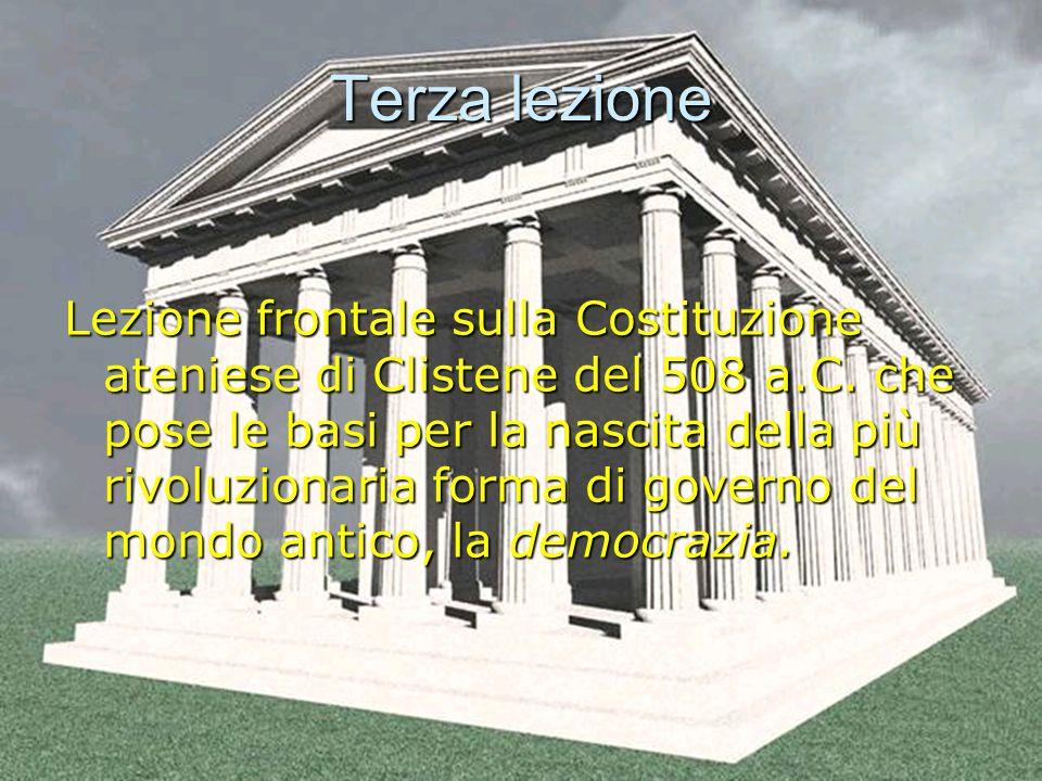 Terza lezione Lezione frontale sulla Costituzione ateniese di Clistene del 508 a.C.