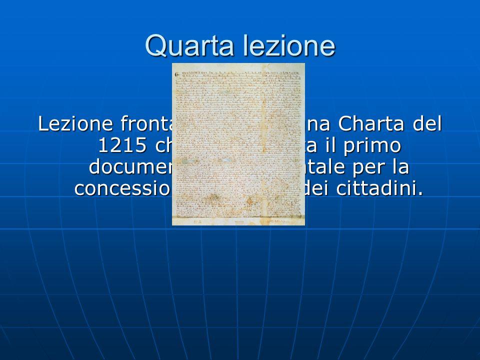 Quarta lezione Lezione frontale su La Magna Charta del 1215 che rappresenta il primo documento fondamentale per la concessione dei diritti dei cittadini.