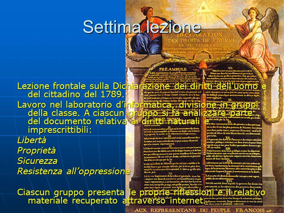 Lezione frontale sulla Dichiarazione dei diritti dell uomo e del cittadino del 1789.