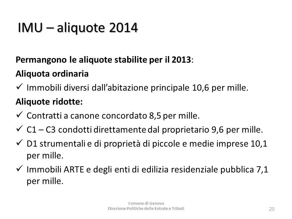 IMU – aliquote 2014 Permangono le aliquote stabilite per il 2013: Aliquota ordinaria Immobili diversi dall'abitazione principale 10,6 per mille. Aliqu