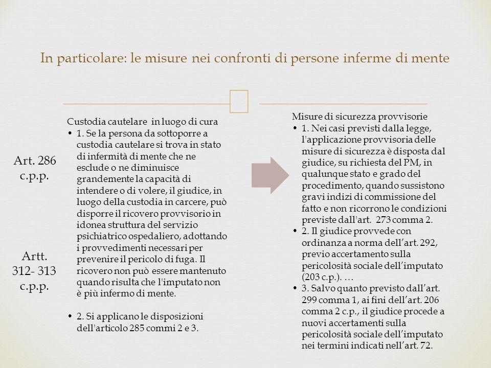  OPG o CCC Licenze di esperimento presso strutture residenziali Rivalutazione della pericolosità sociale Libertà Vigilata Collocazione in strutture residenziali ( CRA, CRT etc.
