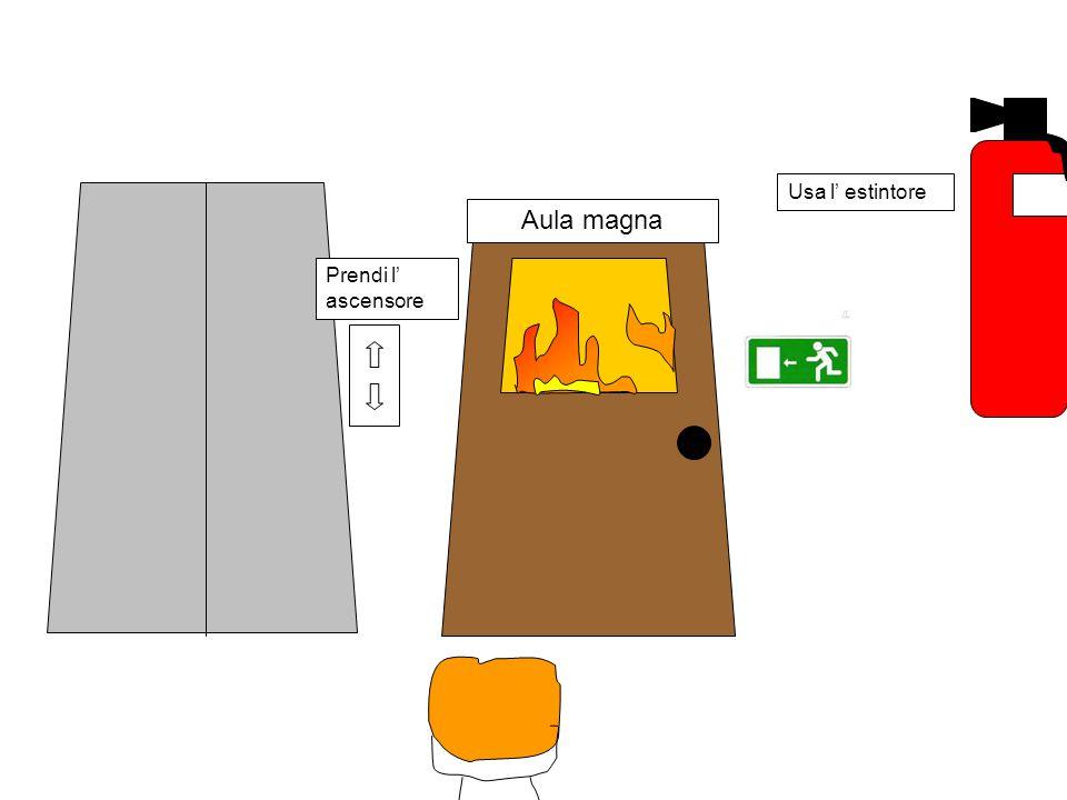 Aula magna L' uscita è dopo l' aula magna, però l' entrata è in fiamme; cosa si deve fare?