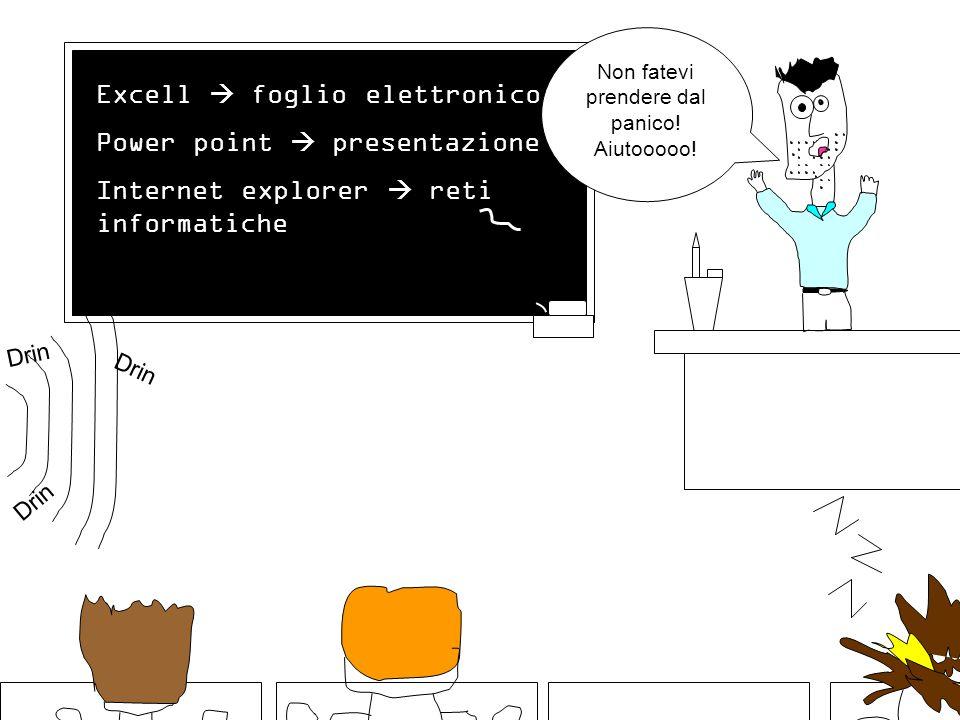 Excell  foglio elettronico Power point  presentazione Internet explorer  reti informatiche Drin Non fatevi prendere dal panico.