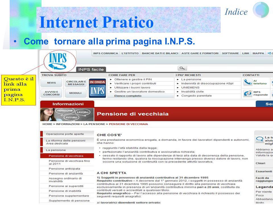 Indice Internet Pratico Come tornare alla prima pagina I.N.P.S.