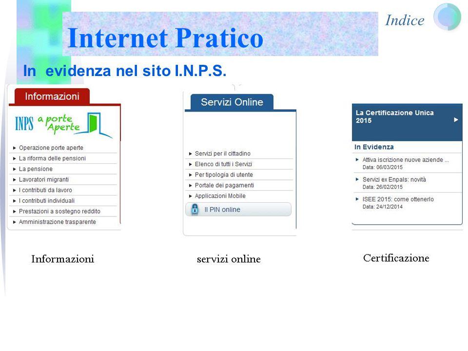 Indice Internet Pratico In evidenza nel sito I.N.P.S.