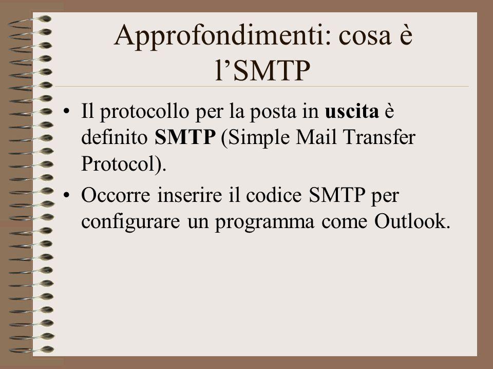 Approfondimenti: cosa è l'SMTP Il protocollo per la posta in uscita è definito SMTP (Simple Mail Transfer Protocol). Occorre inserire il codice SMTP p