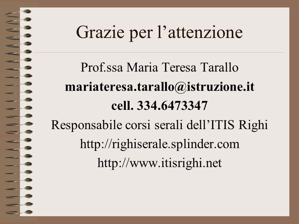 Grazie per l'attenzione Prof.ssa Maria Teresa Tarallo mariateresa.tarallo@istruzione.it cell. 334.6473347 Responsabile corsi serali dell'ITIS Righi ht
