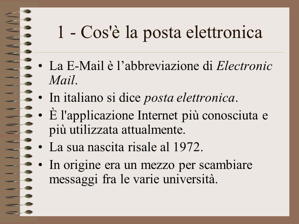 1 - Cos'è la posta elettronica La E-Mail è l'abbreviazione di Electronic Mail. In italiano si dice posta elettronica. È l'applicazione Internet più co