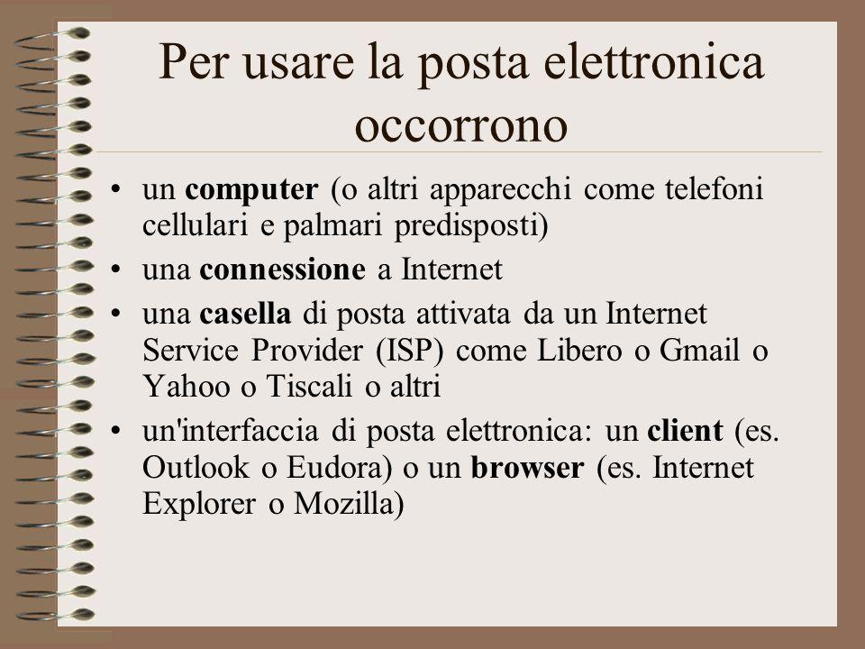 Per usare la posta elettronica occorrono un computer (o altri apparecchi come telefoni cellulari e palmari predisposti) una connessione a Internet una