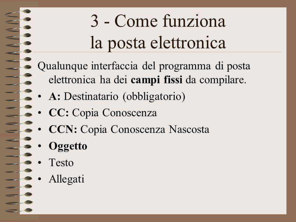 3 - Come funziona la posta elettronica Qualunque interfaccia del programma di posta elettronica ha dei campi fissi da compilare. A: Destinatario (obbl