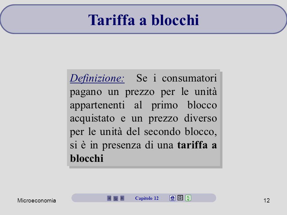 Microeconomia12 Tariffa a blocchi Definizione: Se i consumatori pagano un prezzo per le unità appartenenti al primo blocco acquistato e un prezzo dive