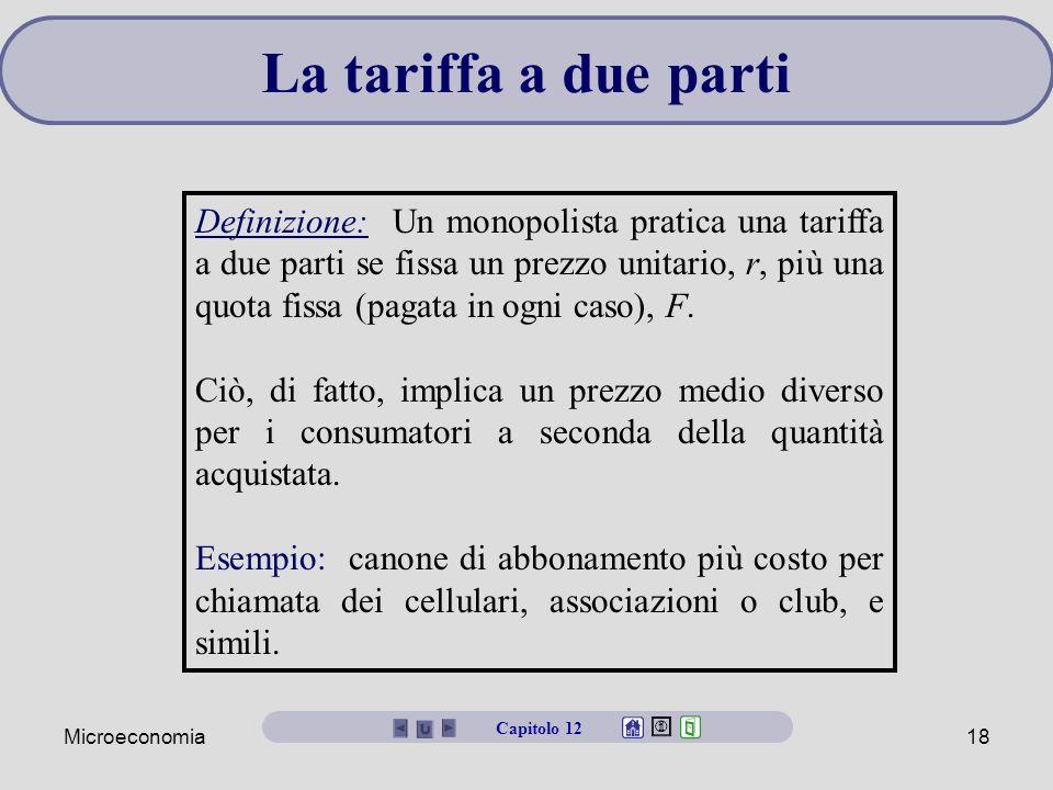 Microeconomia18 La tariffa a due parti Definizione: Un monopolista pratica una tariffa a due parti se fissa un prezzo unitario, r, più una quota fissa (pagata in ogni caso), F.
