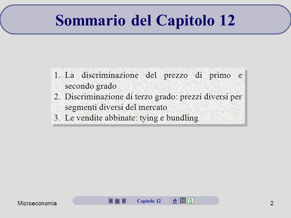 Microeconomia2 Sommario del Capitolo 12 1.La discriminazione del prezzo di primo e secondo grado 2.Discriminazione di terzo grado: prezzi diversi per