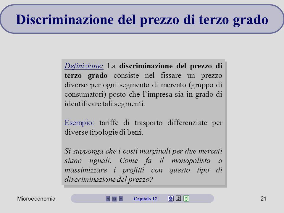 Microeconomia21 Discriminazione del prezzo di terzo grado Definizione: La discriminazione del prezzo di terzo grado consiste nel fissare un prezzo diverso per ogni segmento di mercato (gruppo di consumatori) posto che l'impresa sia in grado di identificare tali segmenti.