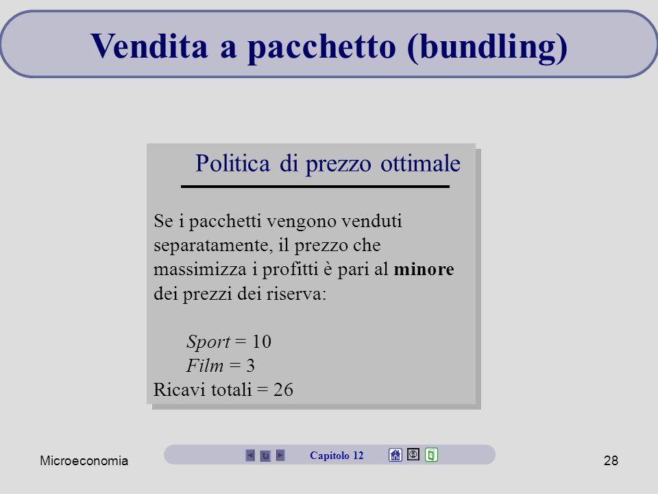 Microeconomia28 Vendita a pacchetto (bundling) Politica di prezzo ottimale Se i pacchetti vengono venduti separatamente, il prezzo che massimizza i pr