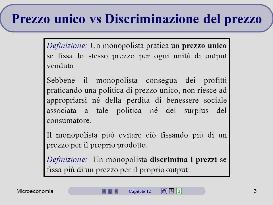 Microeconomia3 Prezzo unico vs Discriminazione del prezzo Definizione: Un monopolista pratica un prezzo unico se fissa lo stesso prezzo per ogni unità di output venduta.