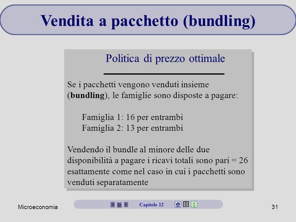 Microeconomia31 Vendita a pacchetto (bundling) Politica di prezzo ottimale Se i pacchetti vengono venduti insieme (bundling), le famiglie sono dispost
