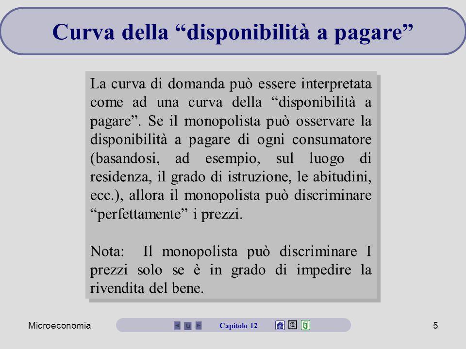 Microeconomia6 Discriminazione del prezzo di primo grado Il monopolista continuerà a vendere unità fino a quando il ricavo marginale (cioè il prezzo di riserva) è uguale al costo marginale.