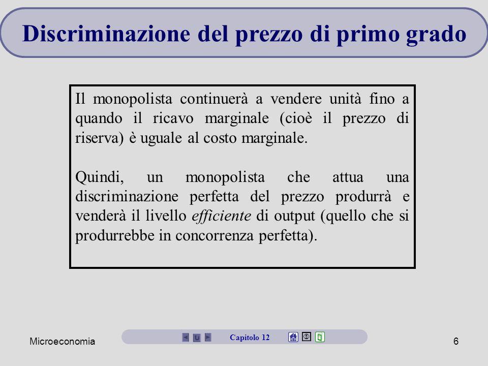 Microeconomia6 Discriminazione del prezzo di primo grado Il monopolista continuerà a vendere unità fino a quando il ricavo marginale (cioè il prezzo d