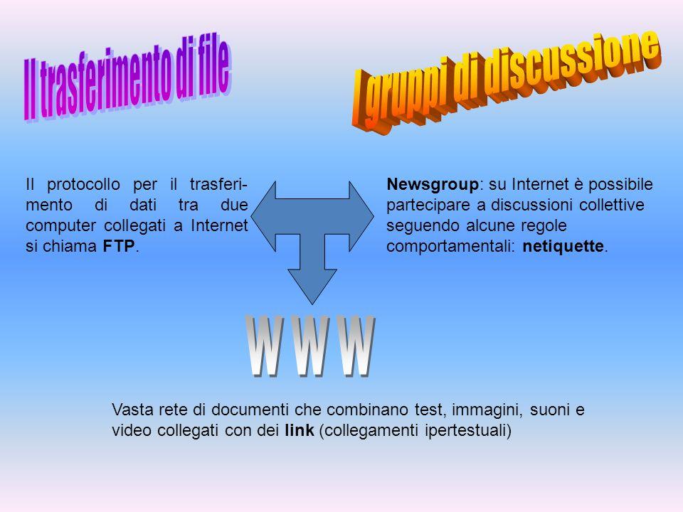 Il protocollo per il trasferi- mento di dati tra due computer collegati a Internet si chiama FTP. Newsgroup: su Internet è possibile partecipare a dis