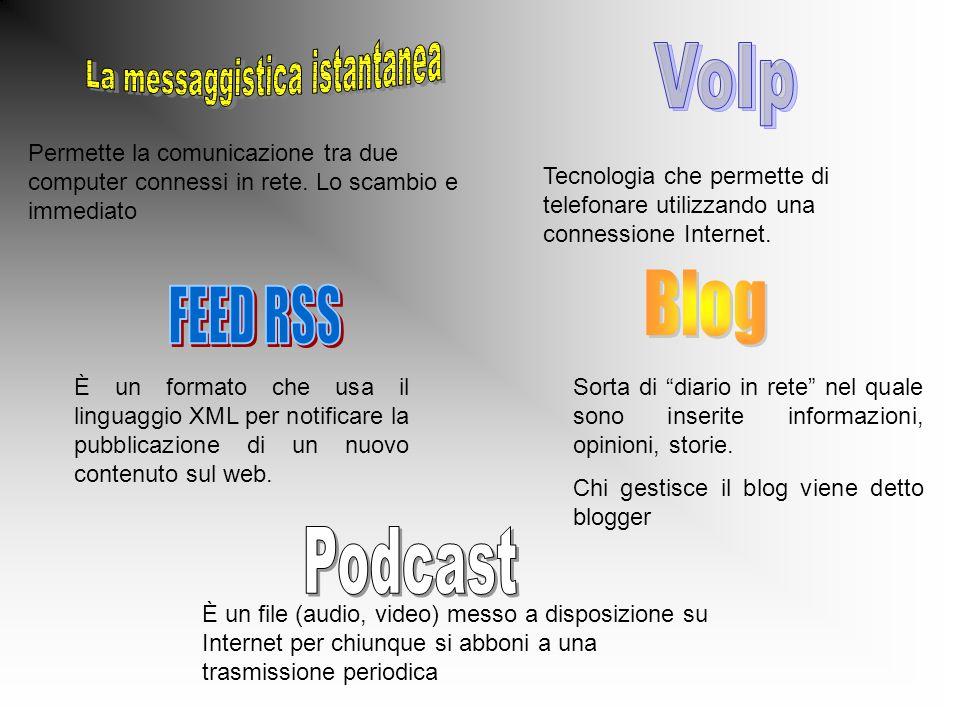 Permette la comunicazione tra due computer connessi in rete. Lo scambio e immediato Tecnologia che permette di telefonare utilizzando una connessione