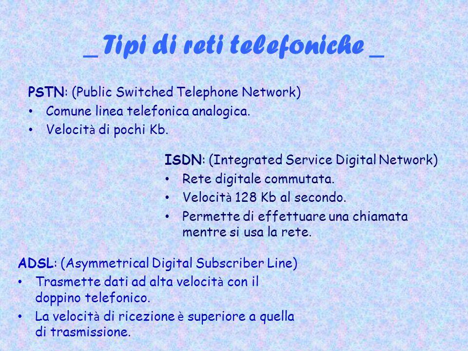 _ Tipi di reti telefoniche _ PSTN: (Public Switched Telephone Network) Comune linea telefonica analogica. Velocit à di pochi Kb. ISDN: (Integrated Ser