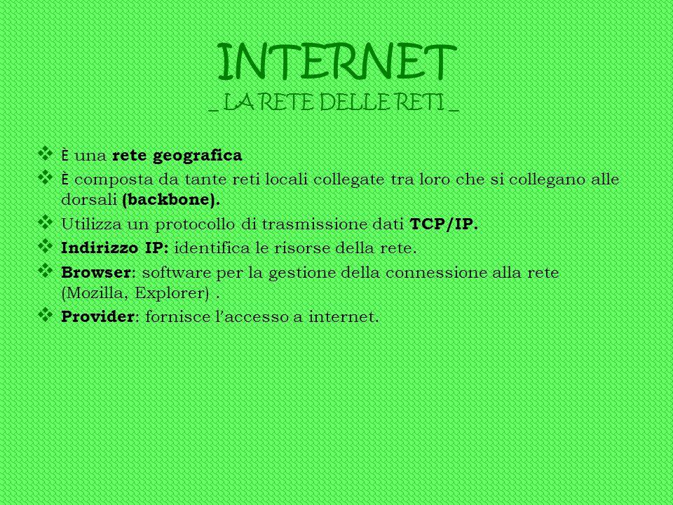 INTERNET ÈÈ una rete geografica ÈÈ composta da tante reti locali collegate tra loro che si collegano alle dorsali (backbone). UU tilizza un prot