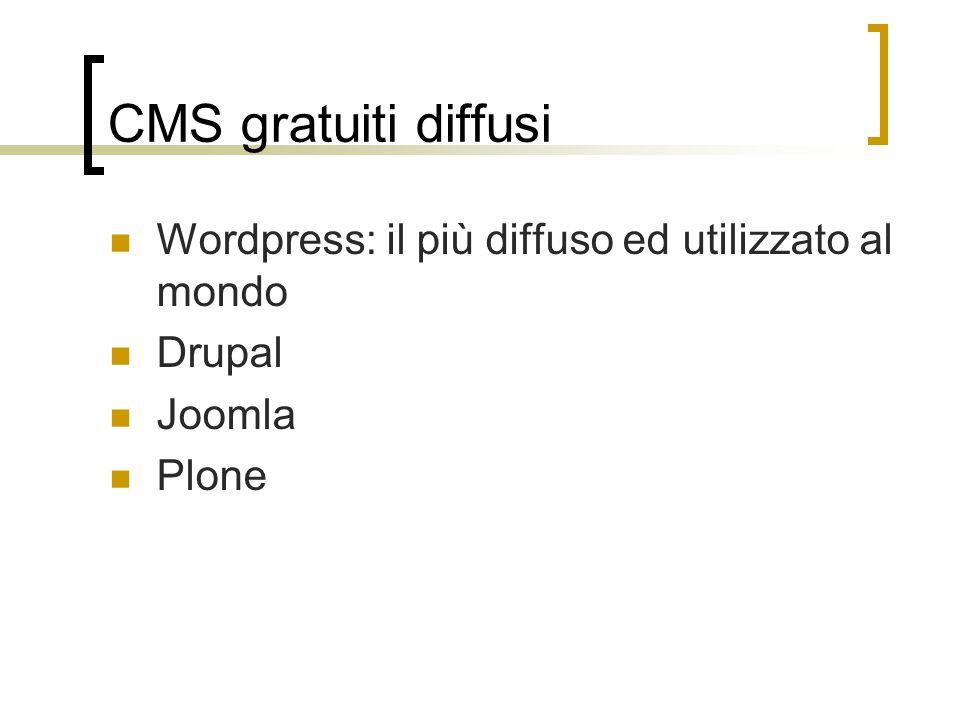 CMS gratuiti diffusi Wordpress: il più diffuso ed utilizzato al mondo Drupal Joomla Plone