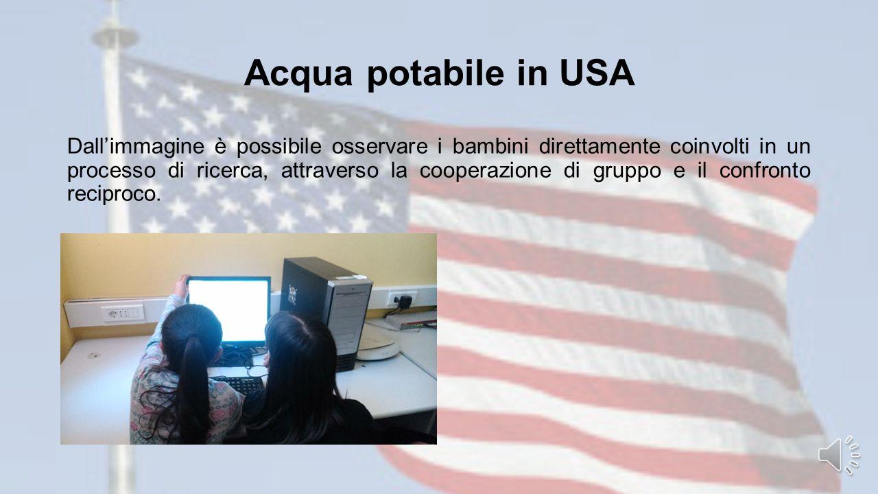 Acqua potabile in USA Dall'immagine è possibile osservare i bambini direttamente coinvolti in un processo di ricerca, attraverso la cooperazione di gruppo e il confronto reciproco.