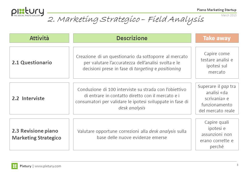 March 2015 Piano Marketing Startup Pixtury   www.pixtury.com 3 2. Marketing Strategico – Field Analysis AttivitàDescrizioneTake away Creazione di un q