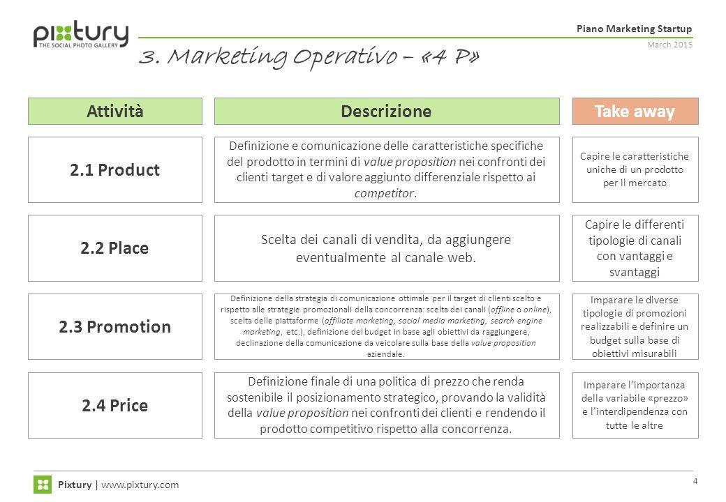 March 2015 Piano Marketing Startup Pixtury   www.pixtury.com 4 3. Marketing Operativo – «4 P» Definizione e comunicazione delle caratteristiche specif