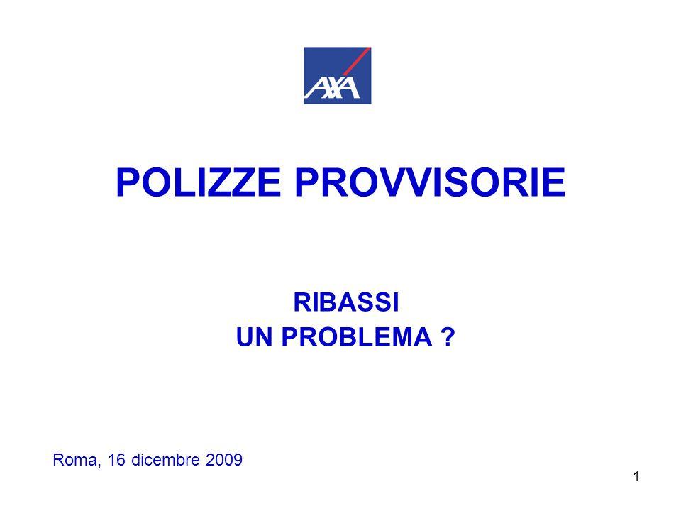 1 POLIZZE PROVVISORIE RIBASSI UN PROBLEMA ? Roma, 16 dicembre 2009