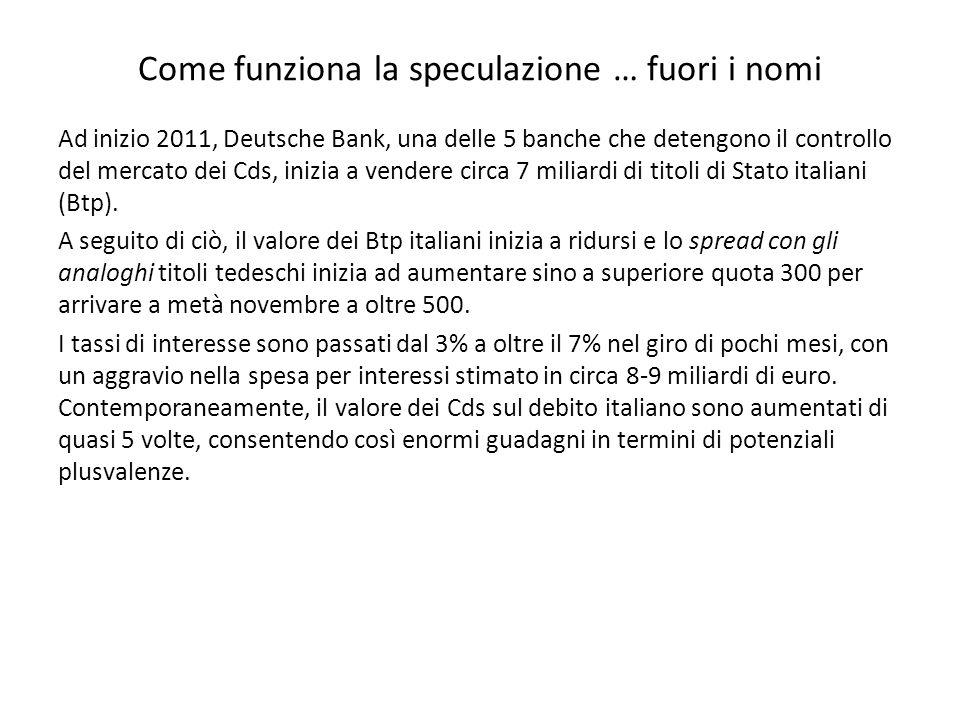 Come funziona la speculazione … fuori i nomi Ad inizio 2011, Deutsche Bank, una delle 5 banche che detengono il controllo del mercato dei Cds, inizia a vendere circa 7 miliardi di titoli di Stato italiani (Btp).