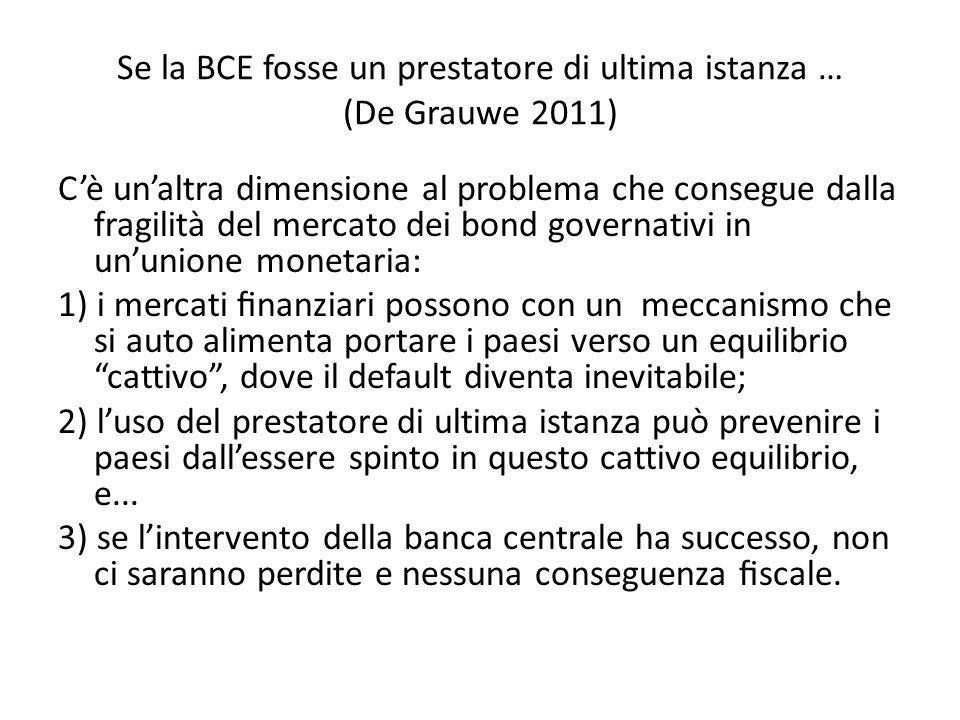 Se la BCE fosse un prestatore di ultima istanza … (De Grauwe 2011) C'è un'altra dimensione al problema che consegue dalla fragilità del mercato dei bond governativi in un'unione monetaria: 1) i mercati finanziari possono con un meccanismo che si auto alimenta portare i paesi verso un equilibrio cattivo , dove il default diventa inevitabile; 2) l'uso del prestatore di ultima istanza può prevenire i paesi dall'essere spinto in questo cattivo equilibrio, e...
