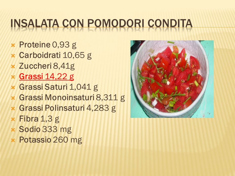  Proteine 0,93 g  Carboidrati 10,65 g  Zuccheri 8,41g  Grassi 14,22 g  Grassi Saturi 1,041 g  Grassi Monoinsaturi 8,311 g  Grassi Polinsaturi 4,283 g  Fibra 1,3 g  Sodio 333 mg  Potassio 260 mg