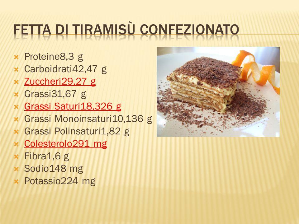  Proteine8,3 g  Carboidrati42,47 g  Zuccheri29,27 g  Grassi31,67 g  Grassi Saturi18,326 g  Grassi Monoinsaturi10,136 g  Grassi Polinsaturi1,82 g  Colesterolo291 mg  Fibra1,6 g  Sodio148 mg  Potassio224 mg