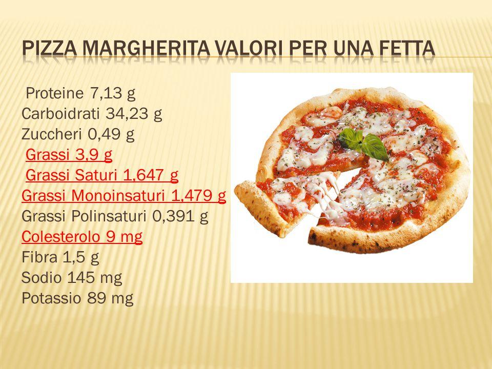 Proteine 7,13 g Carboidrati 34,23 g Zuccheri 0,49 g Grassi 3,9 g Grassi Saturi 1,647 g Grassi Monoinsaturi 1,479 g Grassi Polinsaturi 0,391 g Colesterolo 9 mg Fibra 1,5 g Sodio 145 mg Potassio 89 mg