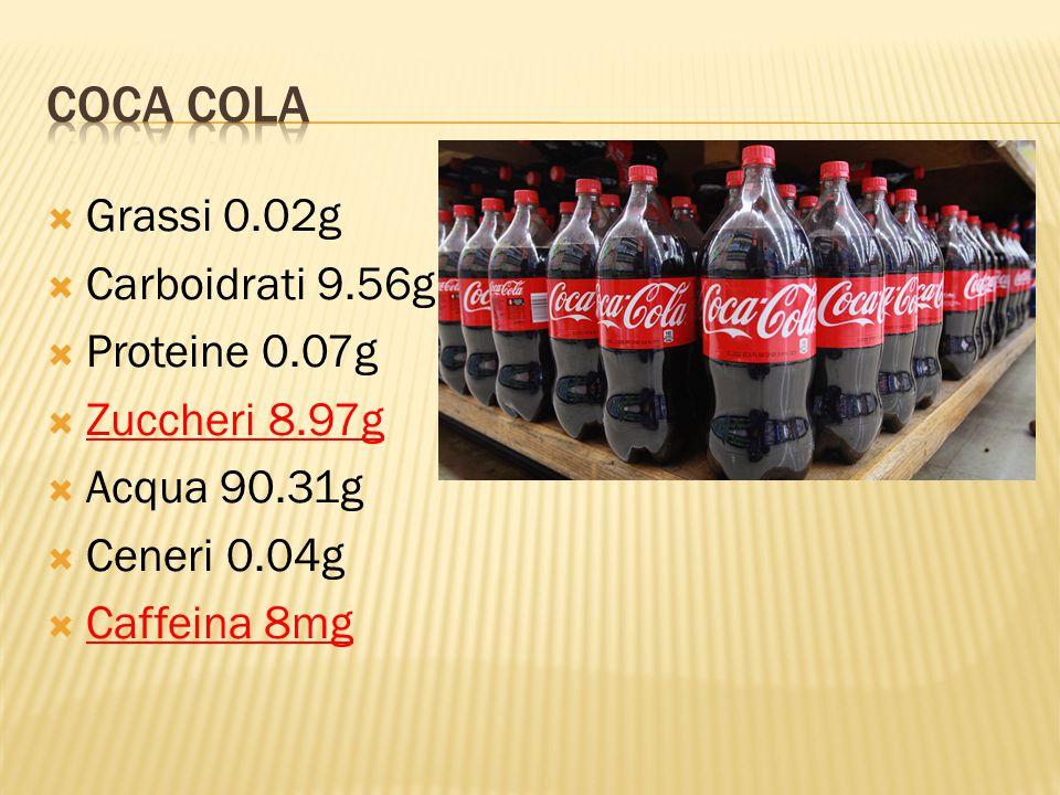  Grassi 0.02g  Carboidrati 9.56g  Proteine 0.07g  Zuccheri 8.97g  Acqua 90.31g  Ceneri 0.04g  Caffeina 8mg