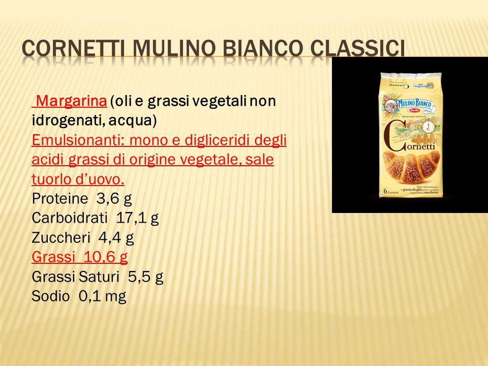 Margarina (oli e grassi vegetali non idrogenati, acqua) Emulsionanti: mono e digliceridi degli acidi grassi di origine vegetale, sale tuorlo d'uovo.