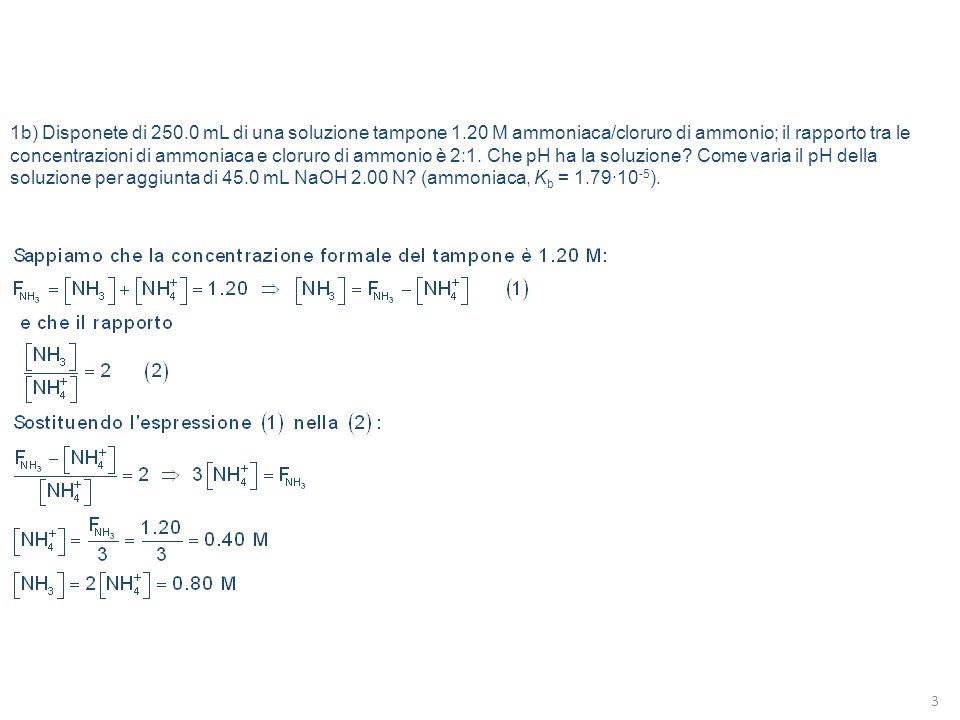 1b) Disponete di 250.0 mL di una soluzione tampone 1.20 M ammoniaca/cloruro di ammonio; il rapporto tra le concentrazioni di ammoniaca e cloruro di am