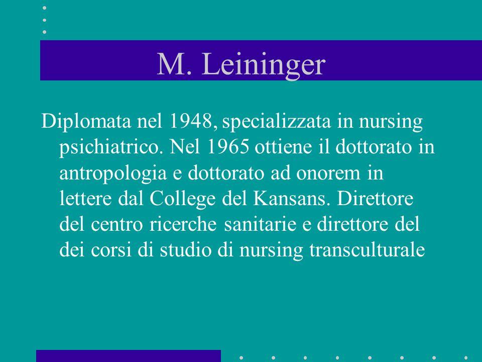 M. Leininger Diplomata nel 1948, specializzata in nursing psichiatrico. Nel 1965 ottiene il dottorato in antropologia e dottorato ad onorem in lettere